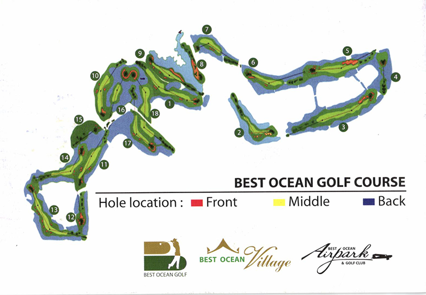 ベストオーシャンゴルフコース 池が多いのがよくわかるコース図