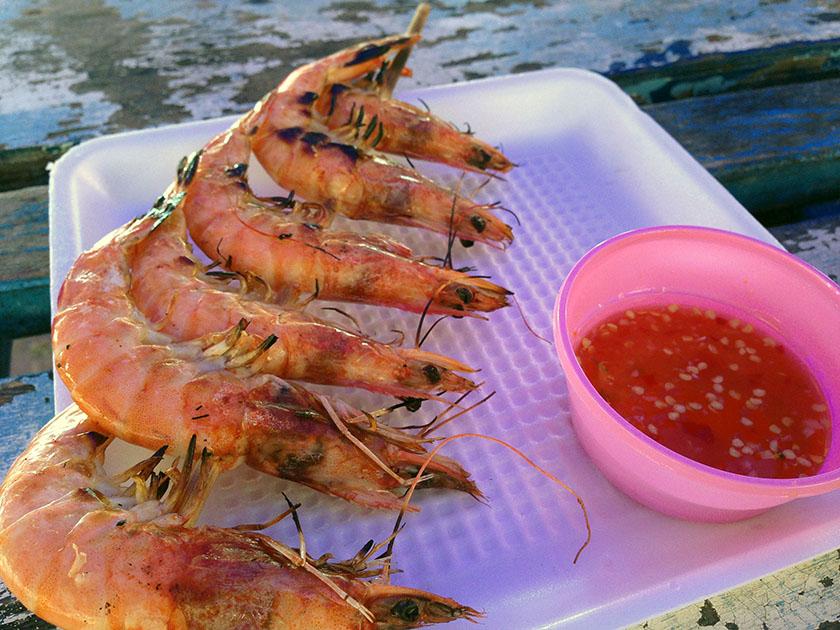 ラン島で食べた焼きエビ