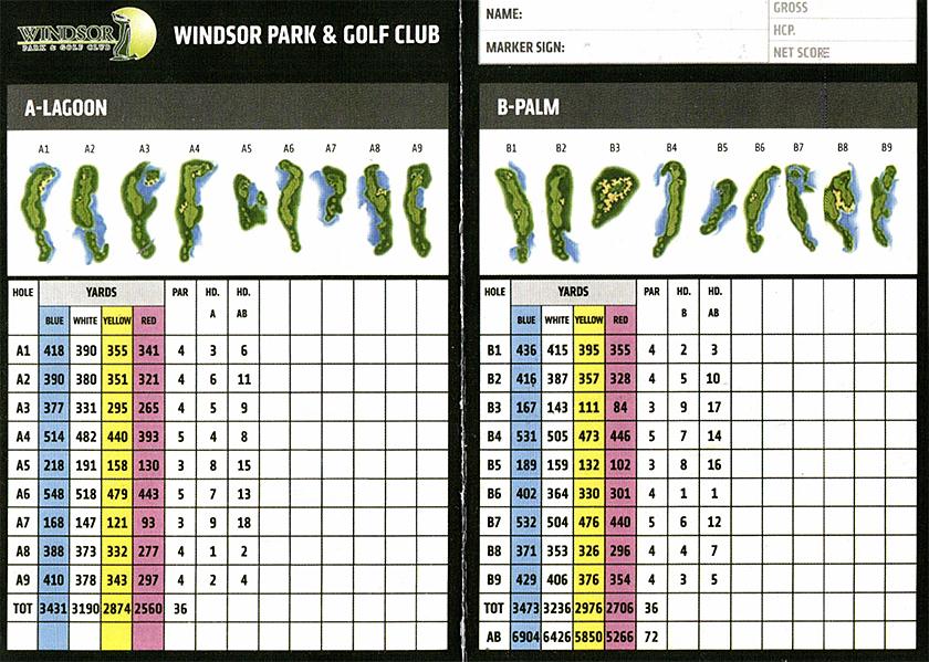 ウィンザーパーク&ゴルフクラブ スコアカード<A-LAGOON、B-PALM>