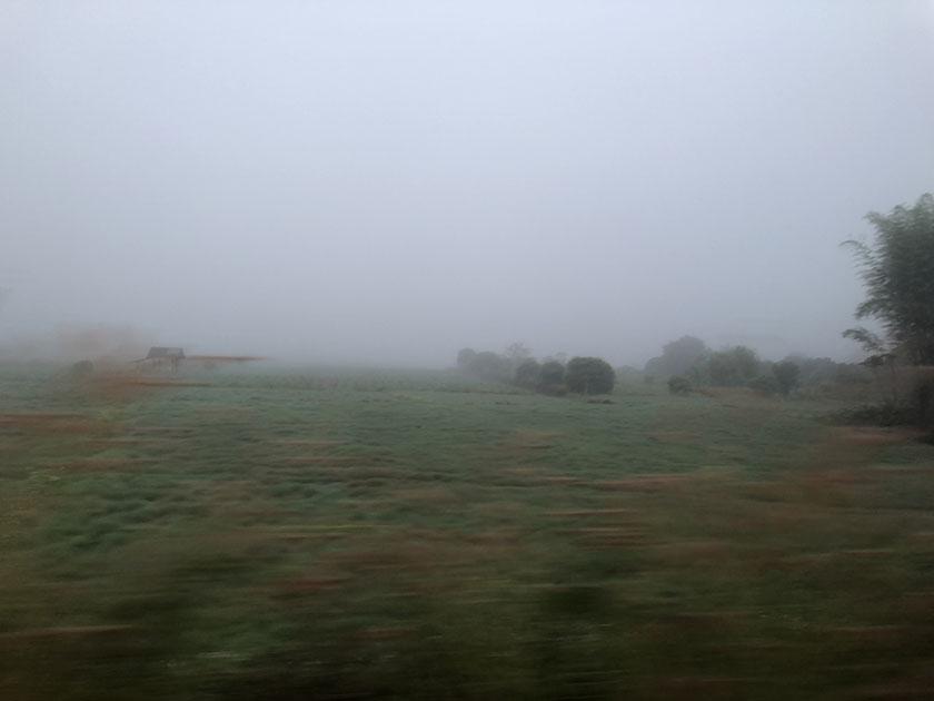 車中から霧が濃い